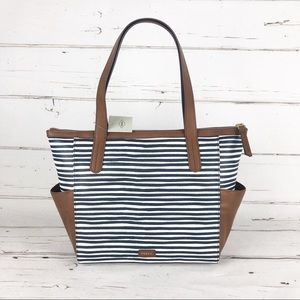 Fossil mini shopper tote bag stripe navy C3